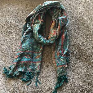 Teal patterned Pashmina scarf